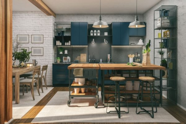 Picture of a modern kitchen. Render image.