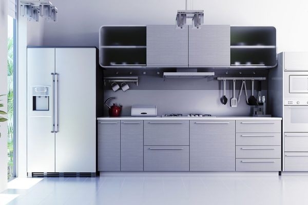 Luxury apartment interior setup of kitchen (blueish color cast)